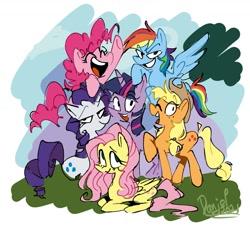 Size: 1688x1564 | Tagged: safe, artist:depressesdaniel, applejack, fluttershy, pinkie pie, rainbow dash, rarity, twilight sparkle, earth pony, pegasus, pony, unicorn, cute, eyes closed, female, lying down, mane six, mane six opening poses, mare, open mouth, ponyloaf, prone, scene interpretation, smiling, unicorn twilight