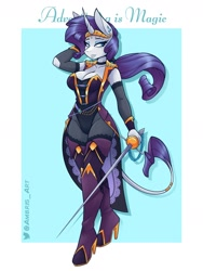 Size: 1800x2400 | Tagged: safe, artist:ambris, rarity, classical unicorn, unicorn, anthro, unguligrade anthro, adventuring is magic, alternate hairstyle, bodysuit, boots, breasts, busty rarity, clothes, colored pupils, fantasy class, female, leonine tail, looking at you, multiple variants, rapier, redraw, rogue, shoes, smiling, smirk, solo, sword, thigh boots, weapon