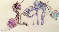 Size: 3264x1745   Tagged: safe, artist:beamybutt, oc, oc only, pegasus, pony, unicorn, duo, eyelashes, eyes closed, female, high res, hoof kissing, horn, mare, pegasus oc, raised hoof, signature, starry wings, traditional art, unicorn oc, wings