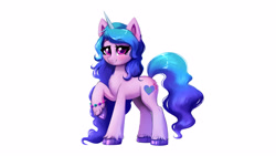 Size: 3840x2160   Tagged: safe, artist:confetticakez, izzy moonbow, pony, unicorn, g5, my little pony: a new generation, blushing, bracelet, chest fluff, cute, ear fluff, eyelashes, female, high res, hoof fluff, izzybetes, jewelry, looking at you, mare, raised hoof, simple background, smiling, solo, unshorn fetlocks, white background