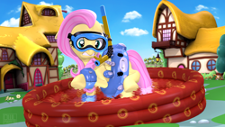 Size: 3840x2160   Tagged: safe, artist:owlpirate, fluttershy, pegasus, pony, 3d, 4k, female, goggles, high res, inner tube, kiddie pool, mare, ponyville, scared, snorkel, solo, source filmmaker, water, water wings