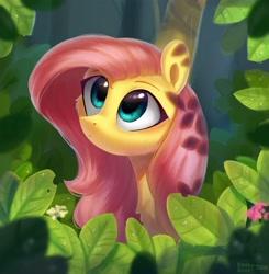 Size: 3473x3551 | Tagged: safe, artist:enderselyatdark, fluttershy, pegasus, pony, cute, daaaaaaaaaaaw, female, forest, leaves, mare, shyabetes, solo, stare