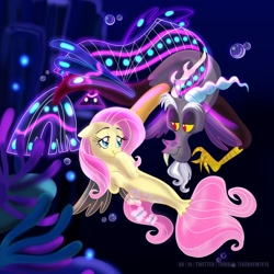 Size: 2000x2000 | Tagged: safe, artist:tiger-of-my-eye, discord, fluttershy, draconequus, pegasus, pony, seapony (g4), discoshy, female, male, shipping, straight