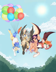 Size: 1920x2480 | Tagged: safe, artist:pvrii, oc, oc only, earth pony, pegasus, pony, balloon, bat wings, giraffe pony, wings