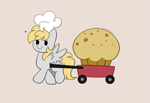 Size: 3597x2467 | Tagged: safe, artist:kittyrosie, derpy hooves, pegasus, pony, blushing, chef's hat, cute, derpabetes, food, giant food, gray background, hat, muffin, simple background, smiling, solo