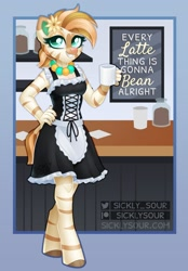 Size: 958x1380   Tagged: safe, artist:sickly-sour, oc, oc only, oc:bombay colada, zebra, anthro, unguligrade anthro, cafe, coffee, commission, female, solo