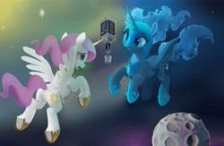 Size: 7200x4700   Tagged: safe, artist:auroriia, edit, nightmare moon, princess celestia, alicorn, pony, absurd resolution, duo, duo female, female, jack daniels, mare, pink-mane celestia