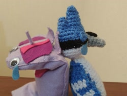 Size: 2621x1968   Tagged: safe, artist:casquitos kawaii, twilight sparkle, pony, amigurumi, crochet, crossover, crossover shipping, female, irl, male, meme, mordecai, mordetwi, photo, plushie, puppet, redraw mordetwi meme, regular show, shipping, straight