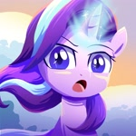 Size: 3000x3000 | Tagged: safe, artist:ce2438, starlight glimmer, pony, unicorn, female, glowing horn, high res, horn, looking at you, mare, open mouth, solo, windswept mane