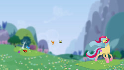 Size: 1192x670 | Tagged: safe, artist:joan-grace, oc, oc only, butterfly, earth pony, pony, earth pony oc, eyelashes, eyes closed, female, inkscape, inktober 2015, makeup, mare, outdoors, solo, vector