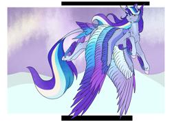Size: 4961x3508   Tagged: safe, artist:oneiria-fylakas, oc, oc:aura sparkle, oc:rainy thunder, alicorn, pony, colored wings, female, fusion, mare, multicolored wings, solo, wings