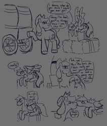 Size: 1194x1410   Tagged: safe, artist:tezzart, applejack, rainbow dash, earth pony, pegasus, appledash, applejack's parents, comic, dialogue, female, grayscale, lesbian, monochrome, shipping, therapy