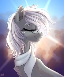 Size: 2920x3500   Tagged: safe, artist:hakaina, oc, oc only, oc:chelley, pony, clothes, female, glasses, mare, scarf, signature, solo
