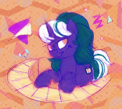 Size: 2079x1863   Tagged: safe, artist:equmoria, oc, oc only, oc:piano mint, unicorn, 80s, circular keyboard, color porn, horn, looking at you, musical instrument, piano, playing instrument, solo, unicorn oc