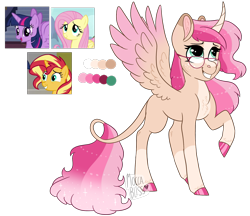 Size: 2075x1792   Tagged: safe, artist:moccabliss, fluttershy, sunset shimmer, twilight sparkle, alicorn, pony, fusion, glasses, simple background, transparent background, twilight sparkle (alicorn)