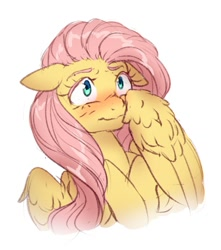 Size: 1101x1243   Tagged: safe, artist:ghoasthead, fluttershy, pegasus, pony, blushing, bust, cute, female, floppy ears, mare, shy, shyabetes, simple background, solo, white background, wing fluff
