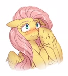 Size: 1101x1243 | Tagged: safe, artist:ghoasthead, fluttershy, pegasus, pony, blushing, bust, cute, female, floppy ears, mare, shy, shyabetes, simple background, solo, white background