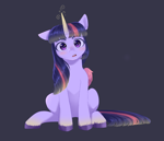 Size: 1960x1680 | Tagged: safe, artist:ghoasthead, twilight sparkle, alicorn, pony, blushing, colored wings, cute, ear down, female, glowing horn, horn, looking at you, mare, one ear down, open mouth, sitting, solo, style emulation, twiabetes, twilight sparkle (alicorn), unshorn fetlocks, wings