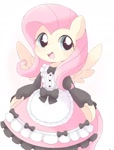 Size: 1240x1631 | Tagged: safe, artist:arrow__root, fluttershy, pegasus, pony, blushing, clothes, cute, daaaaaaaaaaaw, female, fluttermaid, happy, maid, mare, open mouth, shyabetes, simple background, solo, white background