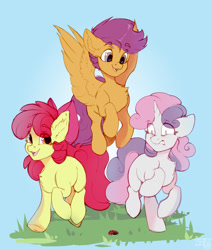 Size: 1468x1734 | Tagged: safe, artist:shini951, apple bloom, scootaloo, sweetie belle, earth pony, insect, ladybug, pegasus, pony, unicorn, adorabloom, apple bloom's bow, bow, chest fluff, cute, cutealoo, cutie mark crusaders, diasweetes, ear fluff, female, filly, floppy ears, grass, hair bow, happy, scared, scootaloo can fly
