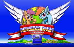 Size: 3155x2012 | Tagged: safe, artist:mlptmntdisneykauane, rainbow dash, scootaloo, pegasus, pony, crossover, duo, female, filly, grin, looking at you, mare, mockup, parody, sega, smiling, sonic 2, sonic the hedgehog (series), sonic the hedgehog 2, title screen, waving