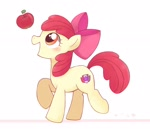 Size: 2048x1766 | Tagged: safe, artist:arrow__root, apple bloom, earth pony, pony, adorabloom, apple, blushing, cute, female, filly, food, raised hoof, simple background, solo, white background