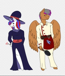 Size: 642x752 | Tagged: safe, artist:draksodia, oc, oc:double light, oc:snowi, pegasus, unicorn, anthro, anthro oc, blue hair, brown hair, clothes, female, horn, mare, red and blue, red eyes, red hair, toga, uniform, white pony, wings
