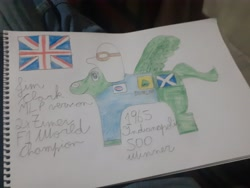 Size: 4128x3096 | Tagged: safe, screencap, pony, formula 1, great britain, indianapolis 500, indy 500, jim clark, ponified, solo, traditional art, united kingdom