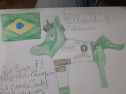 Size: 4128x3096 | Tagged: safe, screencap, pony, brasil, emerson fittipaldi, formula 1, indianapolis 500, indy 500, ponified, solo, traditional art