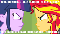 Size: 3410x1920 | Tagged: artist needed, safe, derpibooru exclusive, edit, edited screencap, screencap, sunset shimmer, twilight sparkle, human, derpibooru, equestria girls, equestria girls (movie), angry, canterlot high, caption, clothes, eyebrows, eyelashes, female, frown, impact font, indoors, jacket, leather, leather jacket, lockers, looking, looking at each other, meme, meta, question, question mark, school, shirt, stare, staring at each other, staring contest, symbol, text, text edit, top, woman