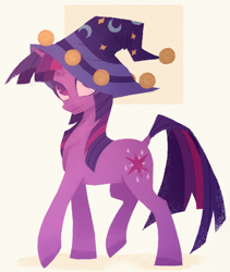 Size: 2025x2400   Tagged: source needed, safe, artist:overthemaginot, twilight sparkle, pony, unicorn, colored hooves, dock, female, hat, lineless, mare, simple background, solo, wizard hat, yellow background