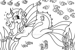 Size: 1024x686   Tagged: safe, artist:angelskies, oc, oc only, alicorn, fish, merpony, pony, seahorse, seapony (g4), black and white, bubble, deviantart watermark, dorsal fin, fin wings, fish tail, flowing tail, grayscale, horn, jewelry, monochrome, necklace, obtrusive watermark, ocean, open mouth, seaponified, seaweed, signature, smiling, solo, species swap, tail, underwater, water, watermark, wings