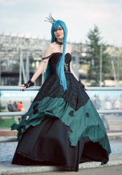 Size: 714x1024   Tagged: safe, artist:renshuher, queen chrysalis, human, clothes, cosplay, costume, irl, irl human, photo, rubronycon, rubronycon 2015