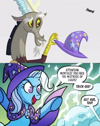 Size: 3277x4096   Tagged: safe, editor:zcord, discord, trixie, draconequus, pony, spoiler:comic, spoiler:comic97, clothes, dialogue, female, hat, high res, implied transformation, lightning, male, signature, story included, trixie's hat