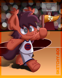 Size: 2400x3000 | Tagged: safe, artist:snakeythingy, oc, oc:sketchy dupe, earth pony, pony, rabbit, animal, basketball, basketball court, bipedal, crossover, female, holding a flag, lola bunny, male, solo, space jam, sports, sports outfit, story included