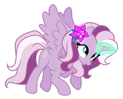 Size: 3820x3078 | Tagged: safe, artist:equmoria, derpibooru exclusive, wysteria, alicorn, pony, g3, the princess promenade, absurd resolution, alicornified, female, flower, flower in hair, g3 to g4, generation leap, glowing horn, horn, magic, magic aura, mare, o, o mouth, open mouth, princess wysteria, race swap, show accurate, simple background, solo, transparent background, vector, wysteriacorn