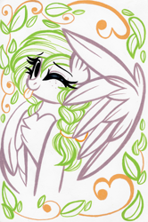 Size: 1684x2532 | Tagged: safe, artist:emberslament, oc, oc only, oc:sylvia evergreen, pegasus, pony, braided pigtails, female, freckles, one eye closed, solo, tongue out, traditional art, wink