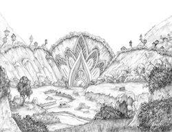 Size: 1400x1073 | Tagged: safe, artist:baron engel, harmonizing heights, monochrome, mount aris, pencil drawing, scenery, traditional art