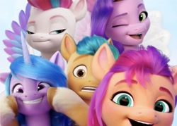 Size: 700x502 | Tagged: safe, hitch trailblazer, izzy moonbow, pipp petals, sunny starscout, zipp storm, earth pony, pegasus, pony, unicorn, g5, female, looking at you, male, mane five (g5), mare, one eye closed, open mouth, selfie, smiling, stallion, wink