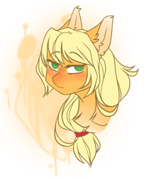 Size: 579x701 | Tagged: safe, artist:quiqyquiq, applejack, pony, bust, female, mare, missing hat, portrait