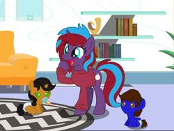 Size: 3357x2520 | Tagged: safe, artist:lynnthenerdkitty, oc, oc:charming dazz, oc:dina blades, oc:nic nerdy, pegasus, pony, unicorn, age regression, commission