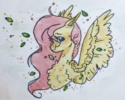 Size: 1096x881 | Tagged: safe, artist:valiaanimation, fluttershy, pegasus, pony, bust, chest fluff, cute, ear fluff, female, leaf, mare, portrait, shyabetes, solo, spread wings, traditional art, watercolor painting, wings
