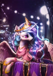 Size: 1702x2400 | Tagged: safe, artist:assasinmonkey, color edit, colorist:xbi, edit, editor:xbi, princess celestia, alicorn, pony, balcony, beautiful, bedroom eyes, black and white, clothes, colored, dress, female, lidded eyes, mare, scenery, solo, spread wings, wings