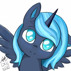 Size: 2480x2480 | Tagged: safe, artist:cxynbl, artist:闪电_lightning, princess luna, alicorn, pony, looking at you, solo, younger