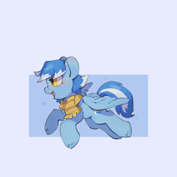 Size: 2048x2048 | Tagged: safe, artist:🔺max🔺, oc, oc only, oc:seaice, pegasus, pony, clothes, pegasus oc, running, scarf, simple background, smiling, solo, white background