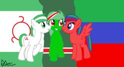 Size: 1068x583 | Tagged: safe, artist:angelovalouva, pony, chechnya, dagestan, ingushetia, nation ponies, ponified, russia, trio