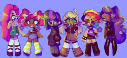Size: 1280x582 | Tagged: safe, artist:pnktea, applejack, fluttershy, pinkie pie, rainbow dash, rarity, twilight sparkle, human, alternate hairstyle, boots, clothes, dress, female, glasses, goth, heart eyes, humanized, kneesocks, mane six, midriff, pigtails, purple background, shoes, simple background, skirt, socks, spiked wristband, twintails, wingding eyes, wristband