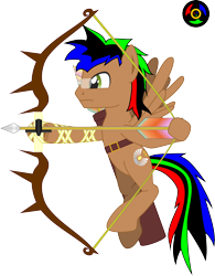 Size: 2354x3016 | Tagged: safe, alternate version, artist:kyoshyu, oc, oc:bucolique, pegasus, pony, arrow, bow (weapon), bow and arrow, dexterous hooves, glasses, male, simple background, solo, stallion, transparent background, weapon