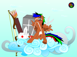 Size: 4050x3000 | Tagged: safe, artist:kyoshyu, oc, oc:bucolique, pegasus, pony, arrow, bandage, bow (weapon), bow and arrow, glasses, male, quiver, scar, scissors, solo, stallion, weapon, wing hands, wings