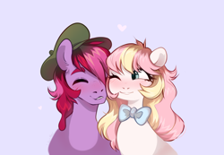 Size: 3600x2487 | Tagged: safe, oc, oc only, oc:jelly, oc:ninny, bowtie, bust, cheek squish, couple, cuddling, eyebrows, freckles, hat, one eye closed, simple background, snuggling, squishy cheeks